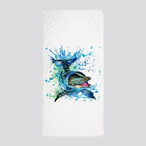 Watercolor Dolphin Beach Towel